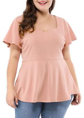 Unique Bargains Women's Plus Size Ruffle Sleeves Sweetheart Peplum Top