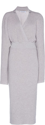 Agnona Cinched Waist Cashmere-Cotton Ribbed Dress