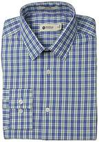 Haggar Men's Bold Check Point Collar Regular Fit Long Sleeve Dress Shirt