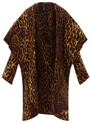 Norma Kamali Shawl-collar Leopard-print Jersey Coat - Animal