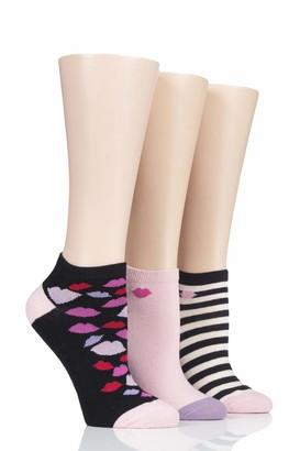 Lulu Guinness Womens Cotton Secret Socks Pack of 3 Black Stripe 4-8