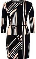 River Island Womens Navy geometric pattern belted tunic top