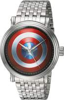Marvel Men's 'Captain America' Quartz Metal and Alloy Casual Watch, Color:-Toned (Model: WMA000023)