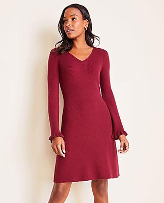 Ann Taylor Ruffle Cuff Flare Sweater Dress