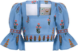 Agua Bendita Violeta Dahlia-Hand Embroidered Linen Cropped Top