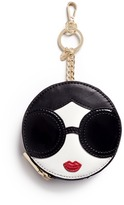 Alice + Olivia 'Stace Face' circular leather coin pouch keyring