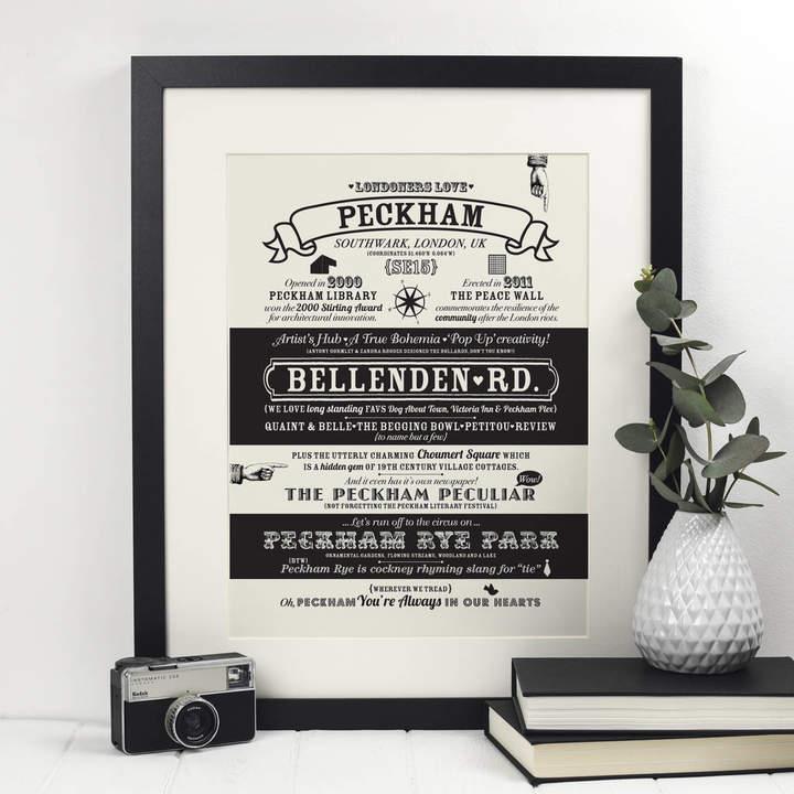 Octavia Plum Peckham, London Location Typography Print