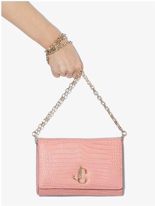 Jimmy Choo pink Varenne mock croc leather shoulder bag