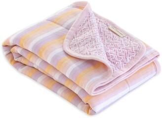 Burt's Bees Watercolor Sunset Stripe Jersey Knit Organic Reversible Baby Blanket