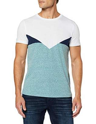 Tom Tailor Men's Colorblock T-Shirt, (Deep Jade Green Mela 19595), Small