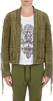 Balmain Men's Lace-Detailed Suede Jacket