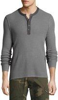 Ovadia & Sons Zack Waffle Merino Wool Henley Shirt, Gray