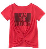Calvin Klein Knot-Front Graphic-Print Cotton T-Shirt, Big Girls