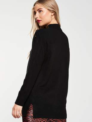Very Button Shoulder Longline Jumper - Black