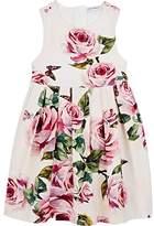 Dolce & Gabbana Kids' Rose-Print Cotton-Blend Dress
