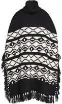 Maje Fringed Intarsia-Knit Turtleneck Poncho