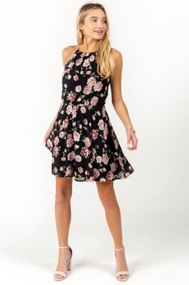 francesca's Flawless Floral Dress in Black - Black