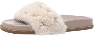 Valentino Beige Mink Fur Rockstud Flat Slides Size 37