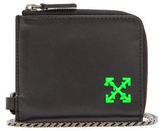 Off-White Off White Logo Leather Chain Wallet - Mens - Black