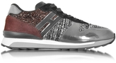 Hogan Running R261 Suede, Tweed w/glitter and Metallic Leather Women's Sneakers