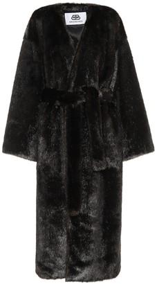 Balenciaga Faux fur belted coat
