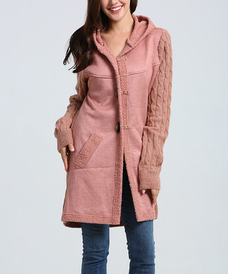 Couture Simply Women's Non-Denim Casual Jackets Pink - Pink Fuzzy Hooded Toggle Jacket - Women & Plus