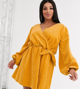 Asos DESIGN Curve cord wrap smock mini dress in marigold-Orange
