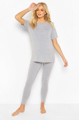 boohoo Maternity Button Front Pajama Pants Set