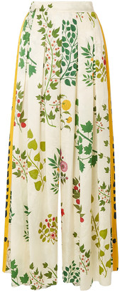 Oscar de la Renta Pleated Printed Silk-jacquard Wide-leg Pants