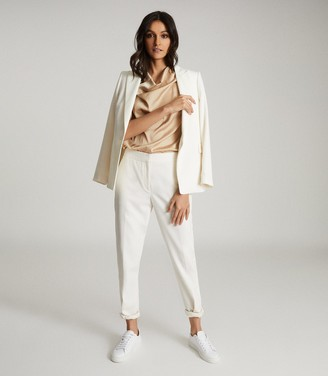 Reiss LAUREN SATIN COWL NECK TOP Champagne