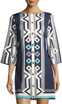 Julie Brown Merrie Printed Bell-Sleeve Shift Dress