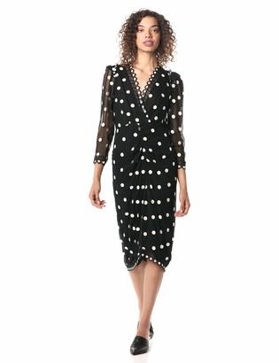 Rebecca Taylor Women's Long Sleeve Dot Embroidered Vneck Midi Dress