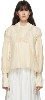 Renli Su Beige Cotton and Silk Hooded Blouse