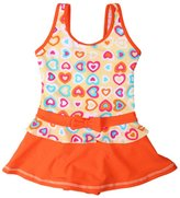 loveU One-Piece Girls Heart Printed Swim Dress Swimwear Swimsuit