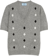 Prada Diamond Intarsia Cashmere Sweater - Gray