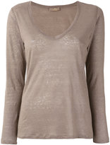 Cruciani scoop neck long sleeve top - women - Linen/Flax - 40