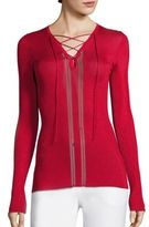 Roberto Cavalli Rib-Knit Lace-Up Top