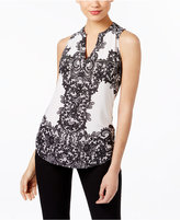 INC International Concepts Printed Split-Neck Top, Created for Macy's
