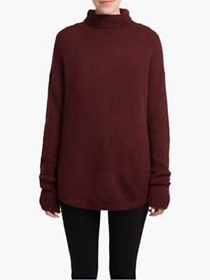 French Connection High Neck Textured Jumper, Biker Berry
