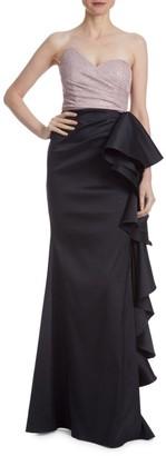 Badgley Mischka Downton Abbey Asymmetrical Shimmer & Ruffle Gown