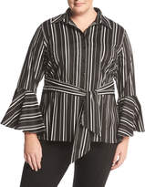 Neiman Marcus Striped Bell-Sleeve Belted Blouse, Plus Size