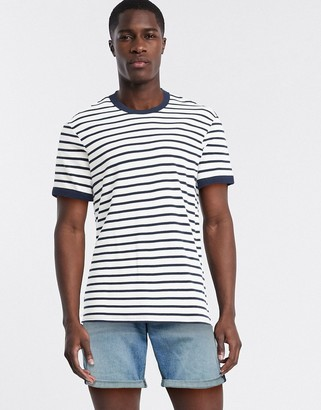 Selected boxy fit t-shirt in navy and white stripe