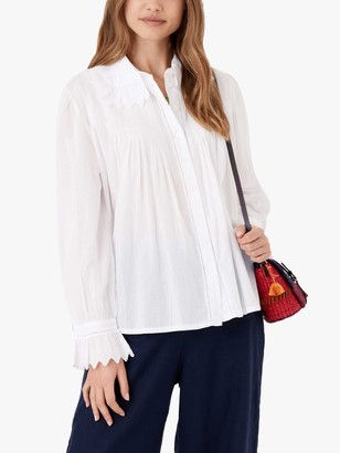 Brora Pleated Organic Cotton Blouse, White