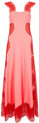 Givenchy Pink lace-trimmed stretch-knit gown
