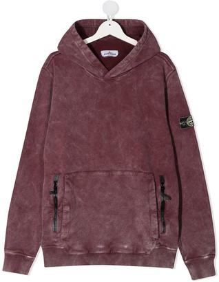 Stone Island Junior TEEN logo patch hoodie