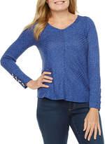 Liz Claiborne Petite Womens V Neck Long Sleeve Knit Blouse