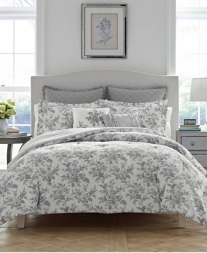 Laura Ashley Annalise Floral Shadow Grey Comforter Set, Full/Queen Bedding