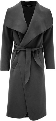 Limelight Lime Light Womens Ladies Italian Plain Full Long Sleeve Open Drape Ruched Front Collar Wrap Over Belted Waterfall Celebrity Inspired Long Duster Coat One Size 8 10 12 14 Dark-Grey