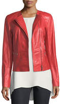 Lafayette 148 New York Caridee Zip-Front Leather Jacket, Plus Size