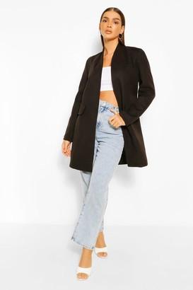 boohoo Collarless Wool Look Coat